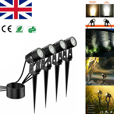 4PCS Garden Spotlights COB LED Mains Outdoor Yard Lawn Waterproof Spike Light UK • 24.71£