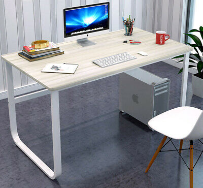 AU149.99 • Buy New Large Office Table Thick Wood & Metal Home Study Computer Desktop Desk WHITE
