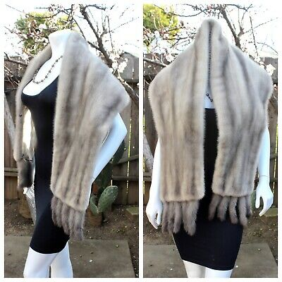 $295 • Buy Real Luxury Gray Sapphire Iris Ranch Mink Fur Stole Cape Shawl Wrap Tails 68