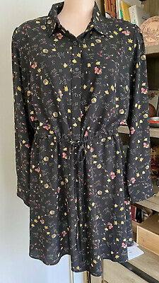AU30 • Buy City Chic Ladies Tie Waist Button Down Dress Sz S Black With Small Floral Print