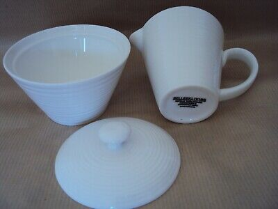 Belleek Living  Ripple Design   Jug And Sugar Bowl  Excellent  Condition • 17.50£