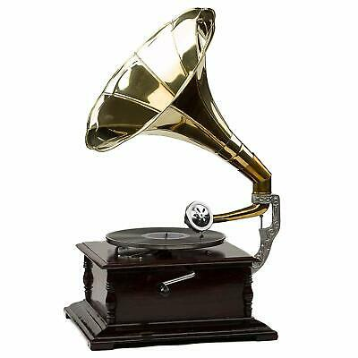 £89.99 • Buy Gramophone With Brass Horn ~ Record Player – 78 Rpm Vinyl Phonograph Round