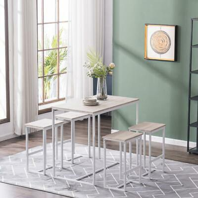 $125.69 • Buy New 5 Piece Wood Dining Table Set 4 Chair Metal Kitchen Dining Room Oak White