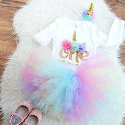 First Birthday Dress Outfits Romper Skirt 3PCS Clothes For Baby Girls • 9.99£