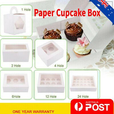 AU24.98 • Buy Paper Cupcake Boxes Case 1 2 4 6 12 24 Hole Window Face Party Baking Wedding AU