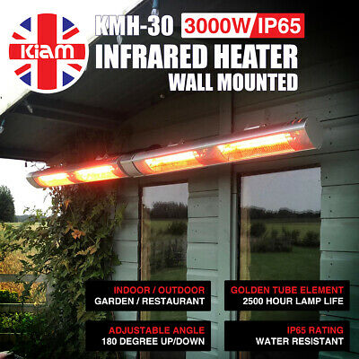 3KW Outdoor Electric Patio Heater Garden Wall Mounted Infrared Waterproof • 99.95£