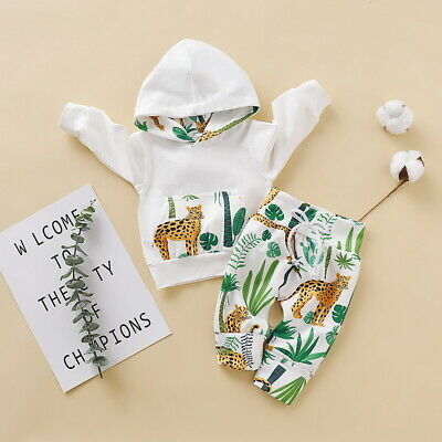 Newborn Baby Boys Animals Print Hooded Tops Pants Trousers Outfits Set Clothes • 10.59£