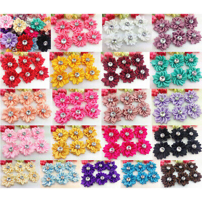 5/20/40pcs Satin Ribbon Flowers Bows With Appliques Sewing DIY Craft Wedding • 2.69£