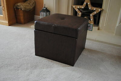 Antique Brown Genuine Full Leather Storage Footstool Pouffe NEW • 89.99£