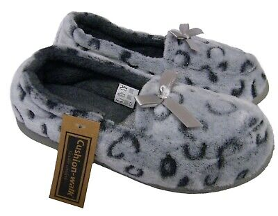 Womens Ladies Grey Leopard Print Comfort Fit Cosy Moccasins Slippers SIZES 4-8 • 11.99£