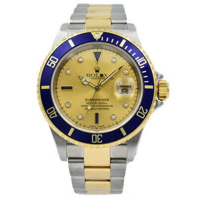 $ CDN15934.12 • Buy Rolex Submariner 16613 Two-Tone Serti Dial With Blue Bezel - 40mm