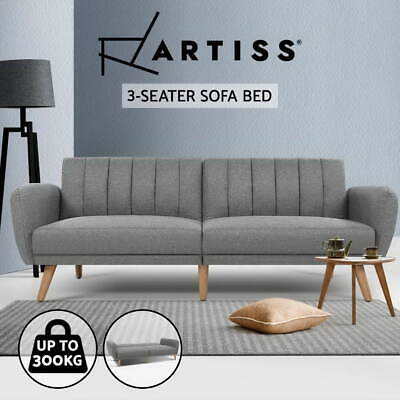 AU419.95 • Buy Artiss Sofa Bed Lounge 3 Seater Futon Couch Beds Recliner Wood 207cm Fabric