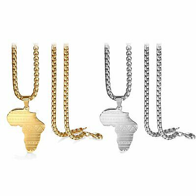 $9.89 • Buy Stainless Steel Men Women Africa African Map Pendant Chain Necklace Silver Gold