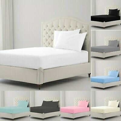 Luxury Percale Cotton Fitted Sheet Single Double King Super King Size Bed Sheets • 7.99£