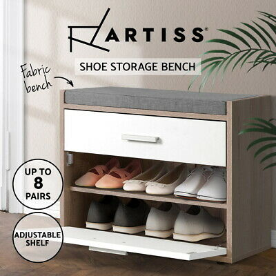 AU71.90 • Buy Artiss Shoe Cabinet Bench Shoes Storage Organiser Rack Fabric Wooden Cupboard