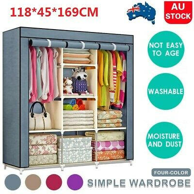 AU38.09 • Buy Large Portable Closet Wardrobe Storage Clothes Cabinet Organizer With Shelves AU