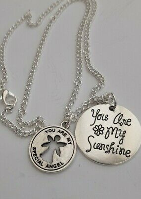 You Are My Sunshine & My Special Angel Silver Charms 16  Or 18  Silver Necklace • 2.25£