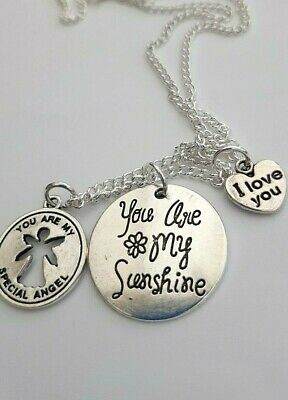 You Are My Sunshine Special Angel & Love Heart Silver Charms 16 Or 18  Necklace • 2.95£