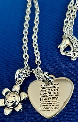 2 Design  You Are My Sunshine  Angel & Heart  Silver Charms 16 Or 18   Necklace • 2.95£