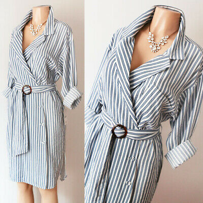 $24.99 • Buy NEW Zara Basic Blue White Stripe Belted Wrap Button Down Long Sleeve Shirt Dress