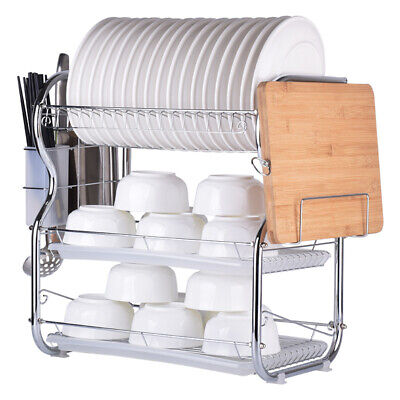 AU29.99 • Buy 3 Tier Stainless Steel Dish Rack Kitchen Storage Drainer Tray Cup Cutlery Holder