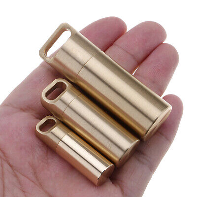 Pill Box Case Holder Brass Waterproof Medicine Capsule Container Key Chain • 4.99£