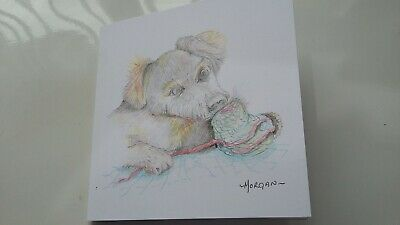 £2.50 • Buy Hand Painted PUPPY CARD By Robandphilmum
