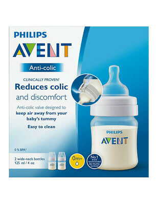 AU21.95 • Buy Philips Avent Feeding Bottle Baby 0+ Toodler Reduces Colic Wide Neck 125ml 2Pack
