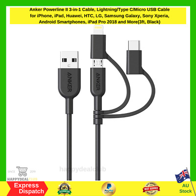 AU24.95 • Buy Anker 3-in-1 Cable, Lightning/Type C/Micro USB Cable For IPhone, IPad, HTC, LG