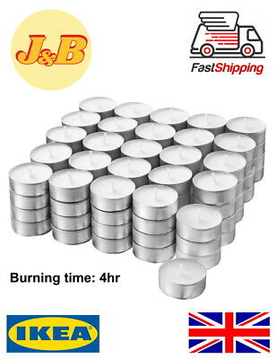 100 PACK White Unscented Tea Light Candles Romantic Mood Long Hour Burn  • 7.99£