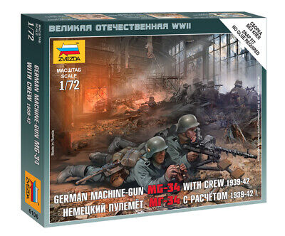 Zvezda 1/72 Figures - German MG-34 Machine Gun With Crew 1939 - 1942 Z6106 • 4.95£