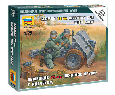 Zvezda 1/72 Figures - German 75mm Infantry Gun With Crew Z6156 • 4.95£