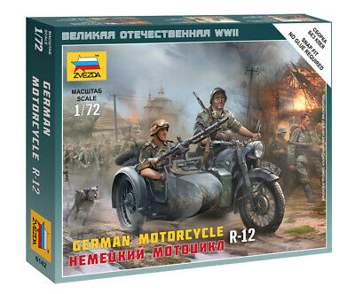 Zvezda 1/72 German R-12 Motorcycle With Sidecar & Figures Z6142 • 4.95£
