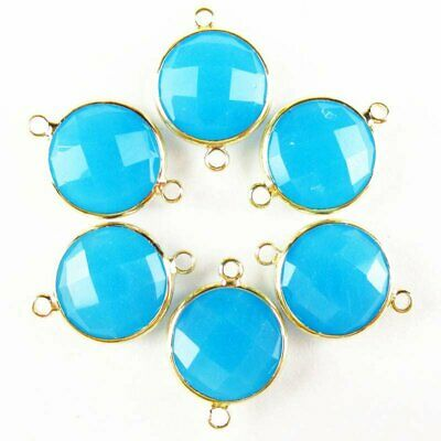 $ CDN14.75 • Buy 6Pcs Faceted Wrapped Blue Jade Round Connector Pendant Bead 15x6mm W20BBS