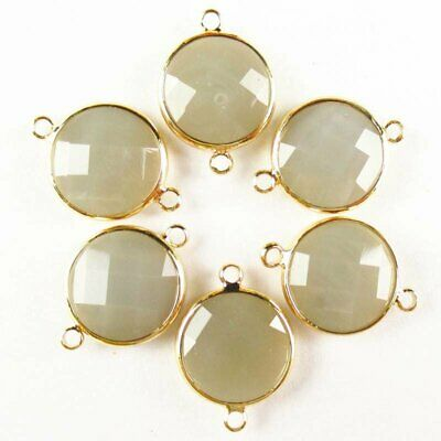 $ CDN14.75 • Buy 6Pcs Faceted Wrapped Grey Jade Round Connector Pendant Bead 15x6mm W26BBS