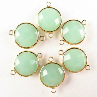 $ CDN14.75 • Buy 6Pcs Faceted Wrapped Green Jade Round Connector Pendant Bead 15x6mm W27BBS