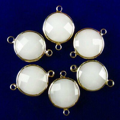 $ CDN14.75 • Buy 6Pcs Faceted Wrapped White Jade Round Connector Pendant Bead 15x6mm W29BBS