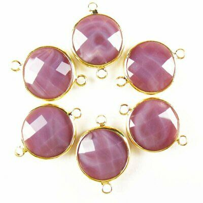 $ CDN14.75 • Buy 6Pcs Faceted Wrapped Purple Jade Round Connector Pendant Bead 15x6mm W30BBS