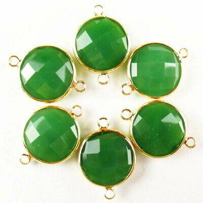 $ CDN14.75 • Buy 6Pcs Faceted Wrapped Green Jade Round Connector Pendant Bead 15x6mm W41BBS