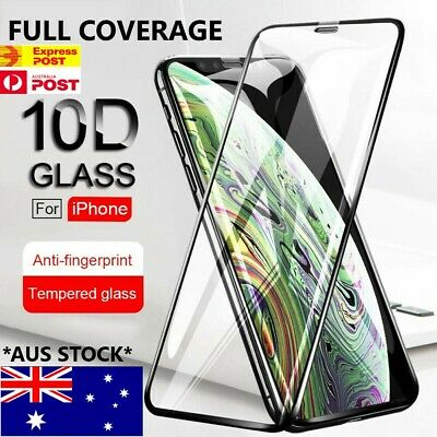 AU4.98 • Buy Tempered Glass 10D FULL COVER Screen Protector IPhone 12 11 Pro X Max XS XR SE 8