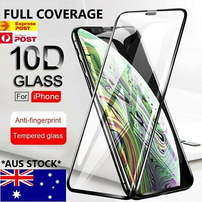 AU5.75 • Buy Tempered Glass 10D FULL COVER Screen Protector IPhone 13 12 11 Pro X Max XR SE 8