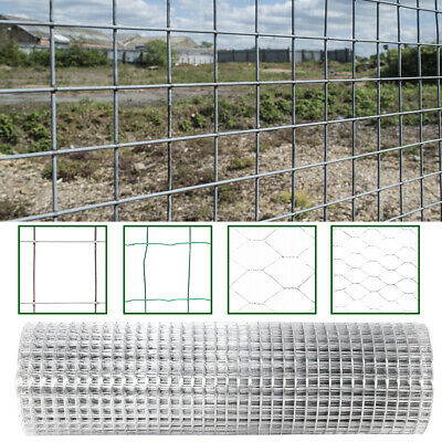 Roll Galvanised/PVC Welded Fence Fencing Net Mesh Garden Chicken Run Wire Aviary • 69.54£