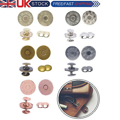 £2.79 • Buy Strong Magnetic Snap Clasps Round Metal Double Rivets For Handbags 2/10/20/50pcs