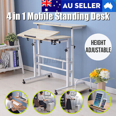 AU169.99 • Buy Mobile Standing Desk Workstation Cart Stand Up Office Table Height Adjustable