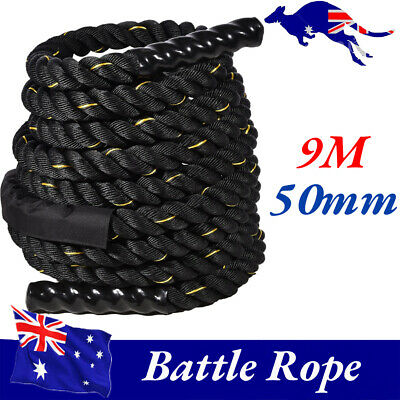 AU94.41 • Buy 50mm X 9M Heavy Home Gym Battle Rope Power Strength Training Exercise Fitness Dd