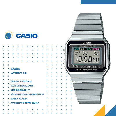 AU49.99 • Buy GENUINE Casio A700W-1A Classic Retro Stainless Steel Digital Watch Silver Slim