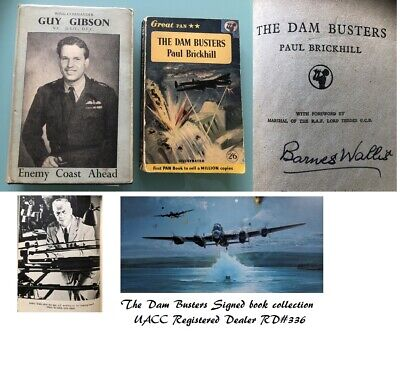 The Dam Busters Dambusters 617 Sqn (Guy Gibson) RAF Barnes Wallis Signed Book  • 450£