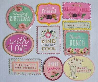 10 Card Sentiments Wording Toppers Birthday Friend Love Etc Craft Making  • 1.90£