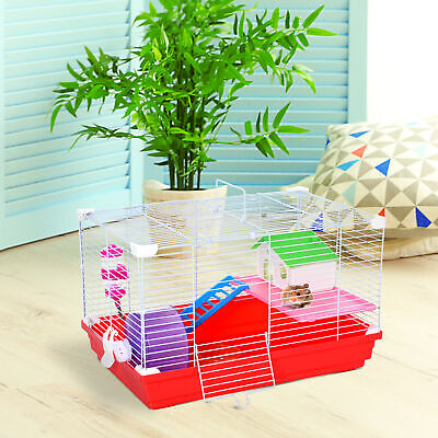 Hamster Cage Small Pet Animal Travel Cage Box Double Layers With Accessories • 21.99£