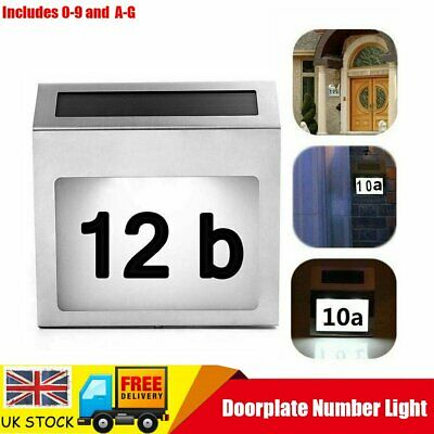 Solar Powered 4 LED Illuminated House DIY Door Number Decor Wall Light Up Plaque • 7.99£
